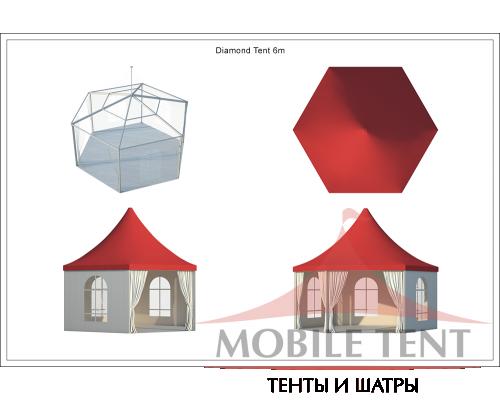 Шестигранный шатёр Стандарт (Диаметр 6 м) Схема 5