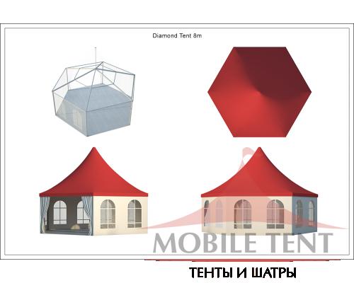 Шестигранный шатёр Стандарт (Диаметр 8 м) Схема 5